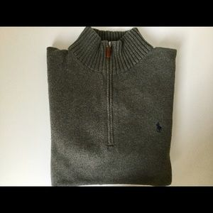 Ralph Lauren POLO gray 1/4 zip cotton sweater